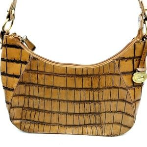 Brahmin Croc Embossed Leather Hobo Shoulder Bag